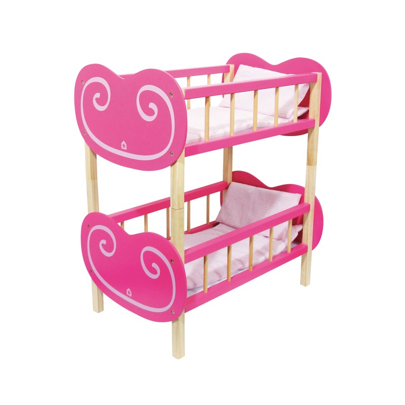 lit superpos s en bois pour poup e lit forme coeur. Black Bedroom Furniture Sets. Home Design Ideas